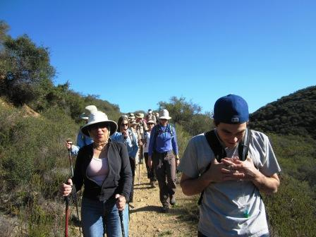 Hikers traveling the BBT in the Santa Monica Mountains.