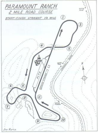 A map by Ann Martin of the Paramount Ranch 2 mile road course.