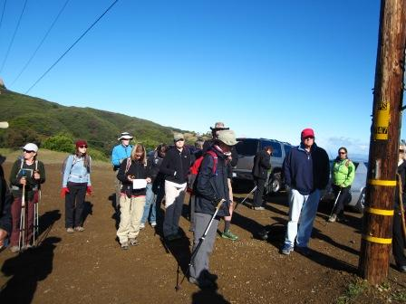 Hikers prepare to start the 6th segment of the Backbone Trail off of Stunt Road.