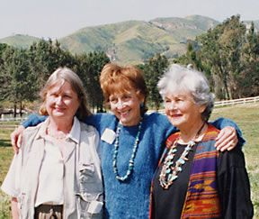 Jill Swift, Sue Nelson, and Margot Feuer are three women supported and fought for the creation of the recreation area. Seen here at Peter Strauss Ranch during a women's history program held in 1999.