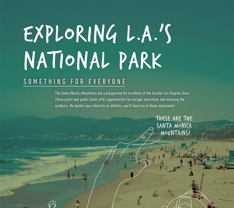 Infographic describing L.A.'s National Park, something for everyone. There is text overlaid on a graphic of the beach and mountains with a drawn-in hand pointing towards the Santa Monica Mountains!