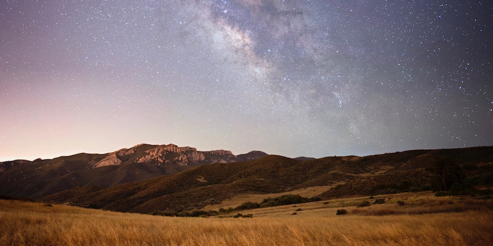 Boney Mountain under the star-studded night sky and the Milky Way