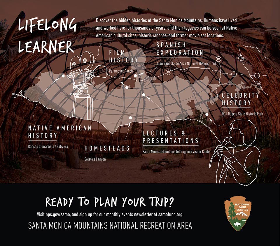 Infographic for lifelong learners showing places of interest for Native American history, film history, Spanish exploration, celebrity history, and others. Graphic overlaid on photo of a round Chumash wood structure.