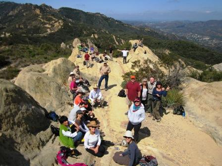 2012 Backbone Trail Hikers taking a break among the rocks at Corral Canyon.