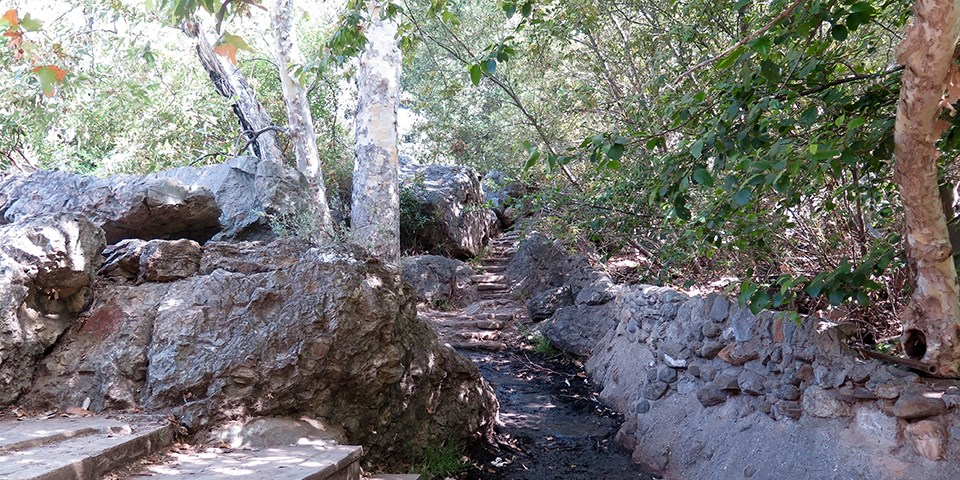 Solstice Canyon trail to the waterfall.