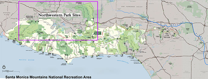 A map of park sites found in the northwestern area of the range based access to major roadways. Sites in the purple box are listed below.