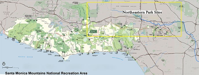 A map of park sites found in the northeastern area of the range based on access to major roadways. Sites in the yellow box are listed below.