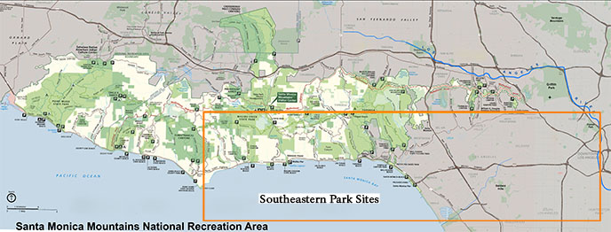A map of park sites found in the southeastern area of the range based on access to major roadways. Sites in the orange box are listed below.