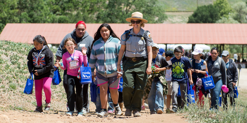 Ranger Mary leads school group on a hike