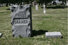 Joseph Cramer's Gravestone in Dickinson County, Kansas.