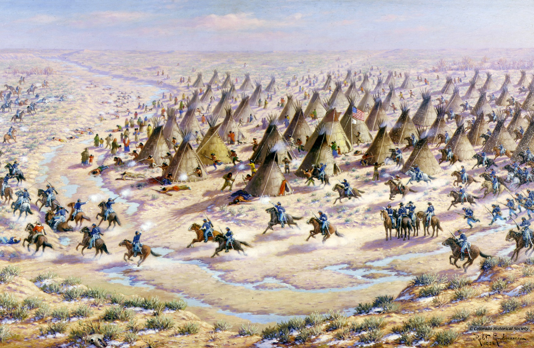 Lindneaux's 1936 painting of the Sand Creek Massacre.