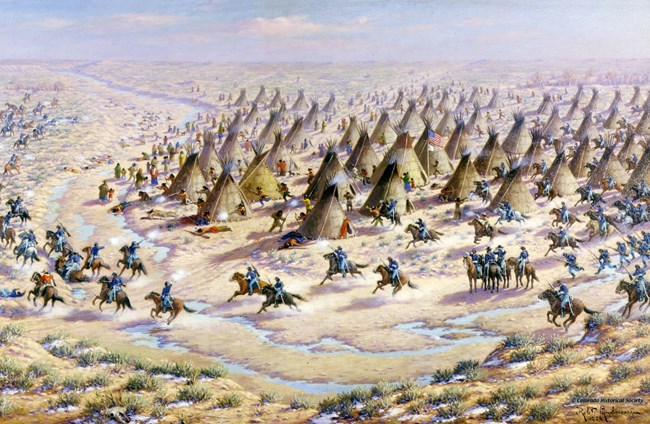 """The Sand Creek Massacre"" by Robert Lindneaux portrays his concept of the assault on the peaceful Cheyenne and Arapaho village by the U.S. Army."