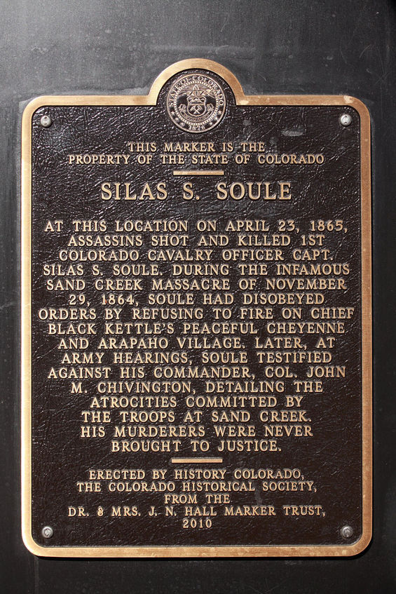 Marker to Silas Soule on 15th and Arapaho in Denver, Colorado.