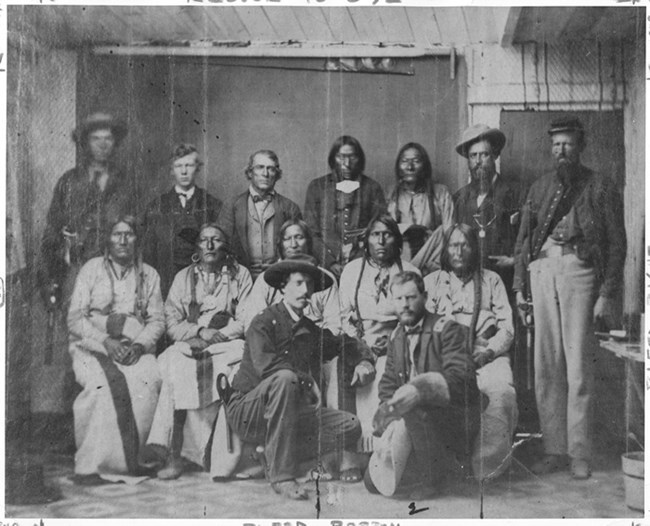 Camp Weld Conference September 1864. In the picture are tribal Chiefs as well as soldiers.