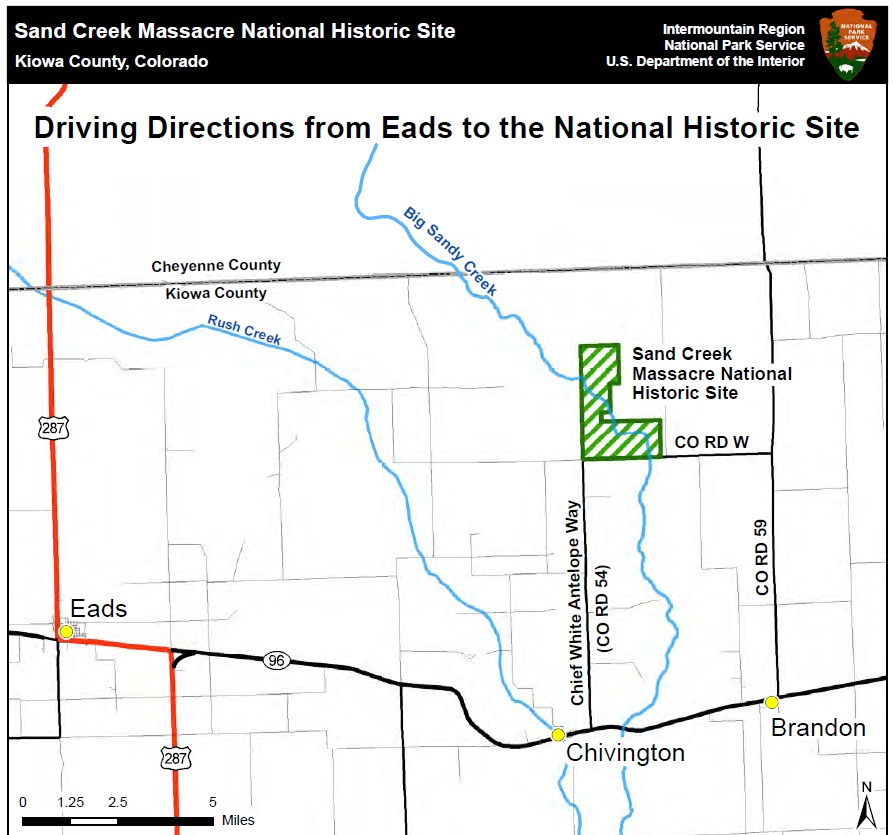 Directions And Transportation Sand Creek Massacre National - Map of us national park historical sites