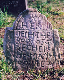 This headstone from the 1750s has one of the earliest images in the cemetery, a star design.