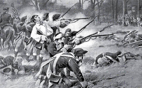 Illustration of part of the Battle of Pell's Point