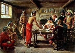 Bronck signing a peace treaty in 1642.