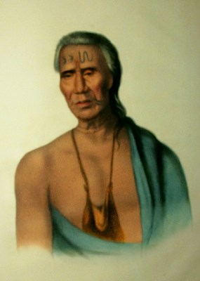 18th century painting of a Lenape chief, or sakima.