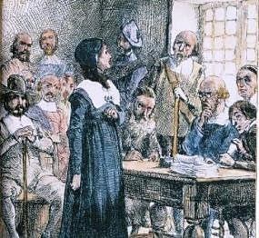 The trial of Anne Hutchinson.