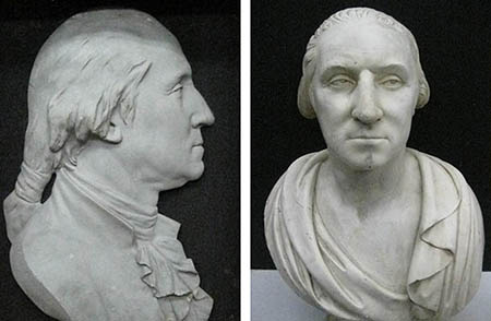 Two sculptures of George Washington: a zinc bas relief on the left, and a plaster bust on the right.