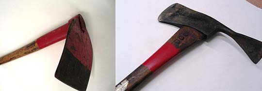 Wildland firefighting tools: at left, a hoe-like mattock, and at right, a pulaski, resembling a combined axe and pick.