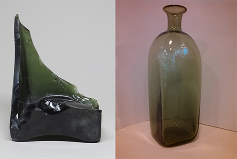 Side-by-side image of excavated square-sided case bottle at left, and a modern reproduction of a case bottle at right.