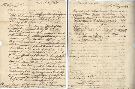 Side by side view of a two page handwritten letter from 1774, dark ink on aged paper.