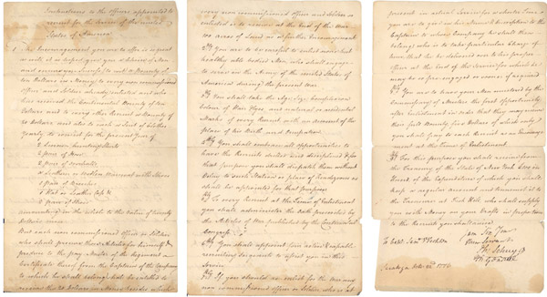Lightly browned pages of a three-page historic document