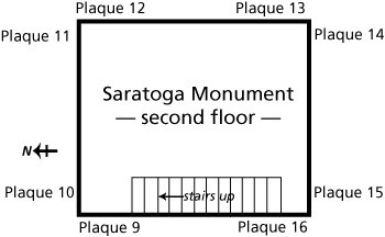 Line drawing of second floor of Saratoga Monument