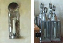Two examples of 18th century lighting devices: a tin wall sconce, and tin lanterns.