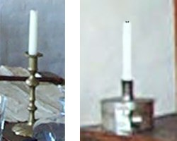 "Two styles of candle holders: a brass candle stick, and a ""tinder box"" candle holder."