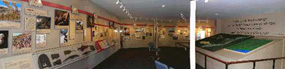 Panoramic view of Visitor Center museum area, including Revolutionary War Timeline Exhibit and Fiber-Optic Map Exhibit.