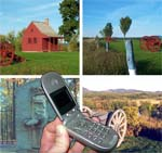 An image of an open cell phone superimposed over several views from Saratoga National Historical Park
