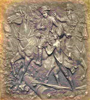 Bronze plaque depicting the mortal wounding of British General Simon Frasier