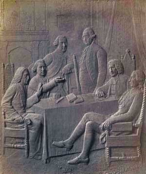 Bronze plaque portraying Britain's King George III and political advisers.