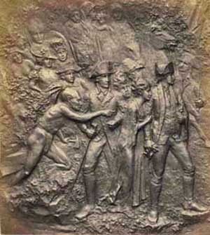 Bronze plaque depicting wives of British Officers journeying through a forested area with their husbands' army