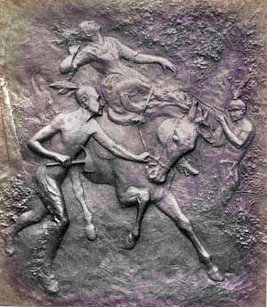 Bronze plaque portraying the killing of Jane McCrea by Native Americans in the service of the British Army.