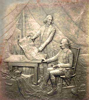Bronze plaque depicting American General Philip Schuyler transferring command of his army to General Horatio Gates.