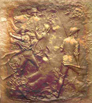 Bronze plaque depicting American General Philip Schuyler directing several soldiers in cutting down trees