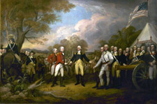 Surrender of British General Burgoyne to American General Gates after the Battle of Saratoga, October 17, 1777.