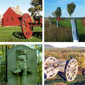 Composite picture showing four Battlefield tour scenes.  These are the Neilson House at top left, fortification marker posts at top right, the