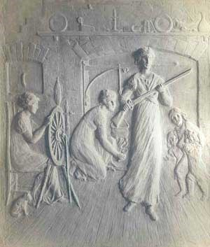 Bronze plaque with stylized portrayal of women in American at time of American Revolution.