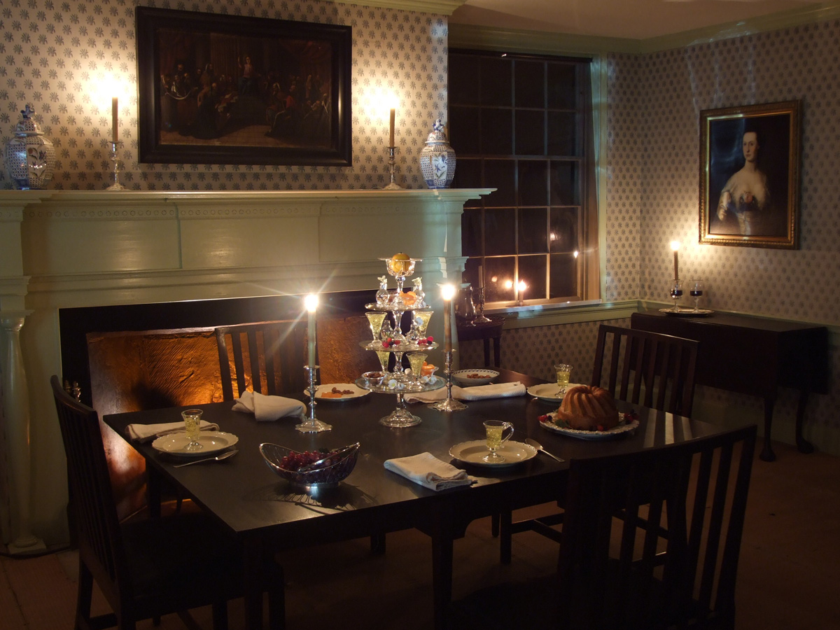 Colonial dining set at dusk