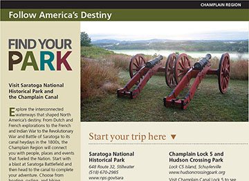 Snapshot of printed travel itinerary, has large text saying Find Your Park, and has a picture of two cannons overlooking the Hudson River Valley.