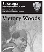 Grayscale image of a partial brochure cover showing a half-starved British soldier in a wooded area.