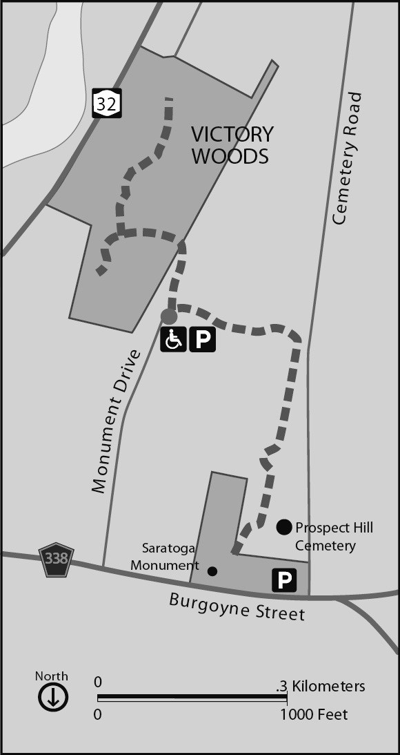 Map showing walking path from Saratoga Monument to Victory Woods