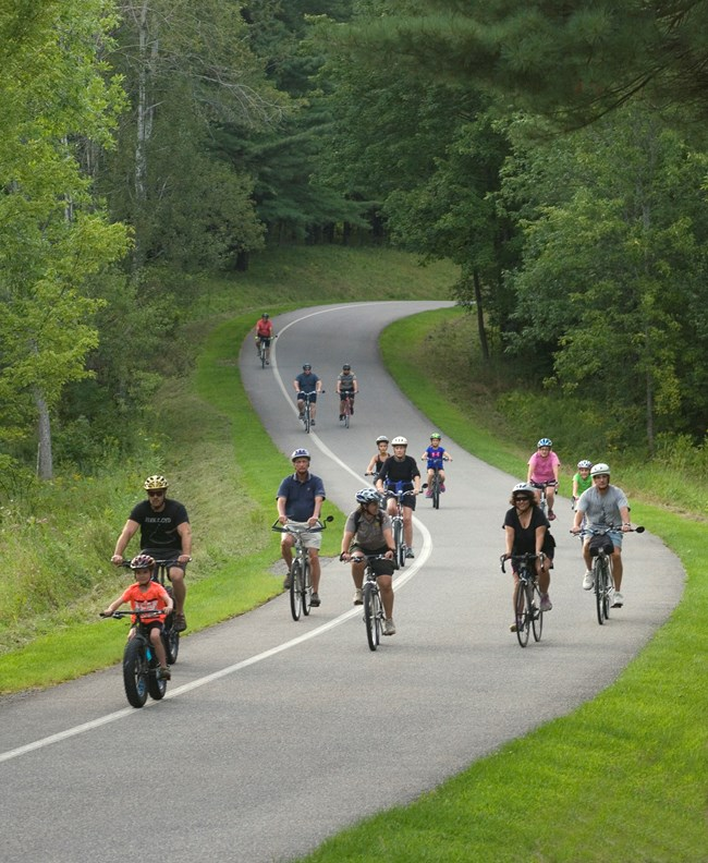 Group of cyclists on paved road