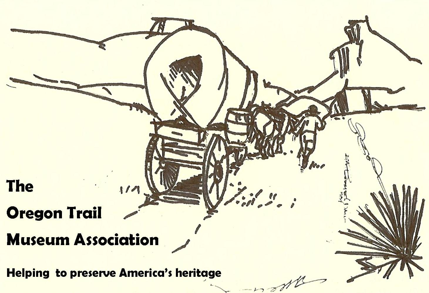 Drawing of covered wagon in Mitchell Pass