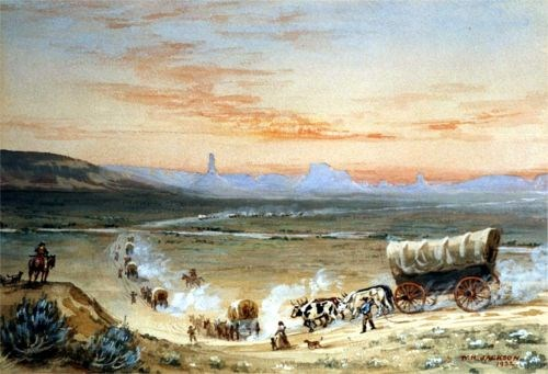 Depicts a string of wagons moving up the North Platte River valley in western Nebraska. Chimney Rock and Scotts Bluff are in the distance.